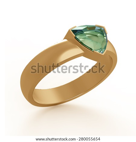 Emerald solitaire engagement ring - stock photo