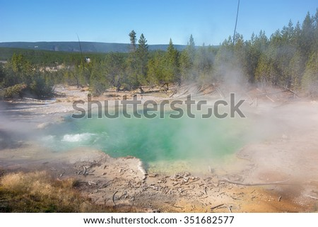 Emerald Spring in Norris Geyser Basin at Yellowstone National Park, Wyoming.