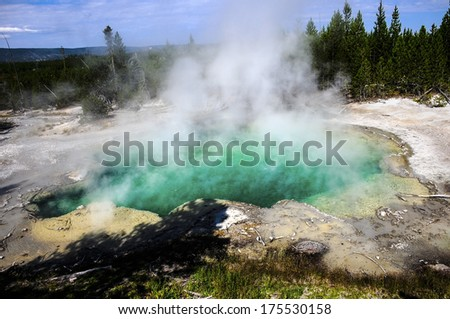 Emerald Springs at the Norris Geyser Basin Yellowstone National Park - stock photo