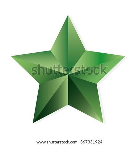 Emerald star. illustration, isolated object on white background - stock photo