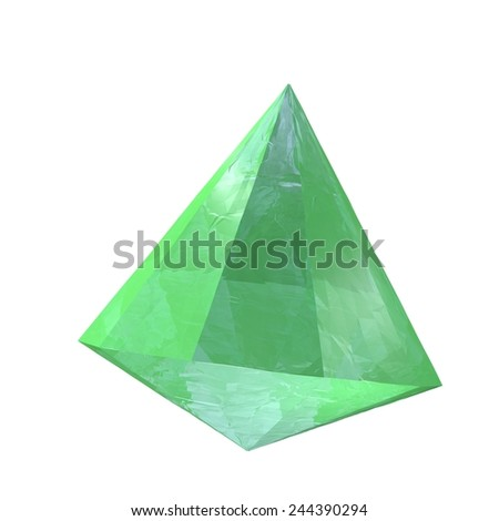 Emerald stone isolated over white, 3d render - stock photo