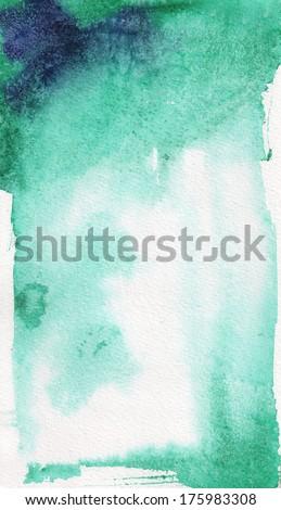 emerald watercolor - stock photo