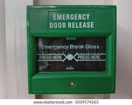 Emergency Break Glass Emergency Door Release Use Stock Photo