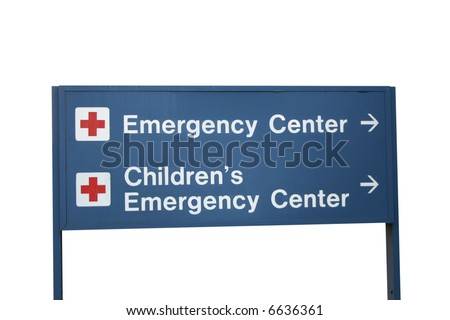 Emergency center and Children's Emergency center sign - stock photo