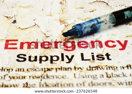 Emergency checklist - stock photo
