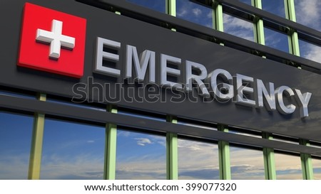 Emergency department stock images royalty free images vectors emergency department building sign closeup with sky reflecting in the glass3d rendering sciox Image collections