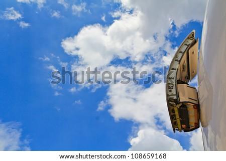 Emergency exit aeroplane, Aircraft - stock photo