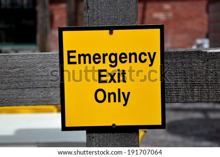 Emergency exit only sign - stock photo