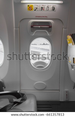 Emergency Exit Sign on Door in Airbus Plane Interior & Plane Door Inside Stock Images Royalty-Free Images \u0026 Vectors ... Pezcame.Com