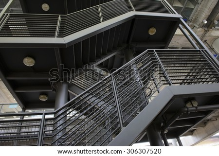 Emergency exit stairs exterior house - stock photo