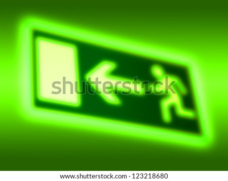 Emergency exit symbol background - stock photo