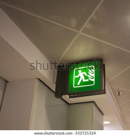 Emergency fire exit door - stock photo