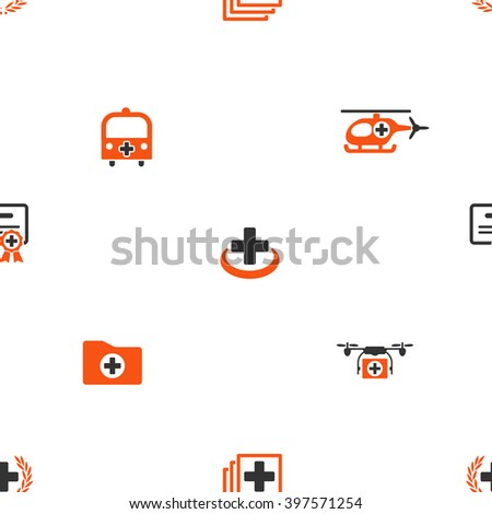 Emergency glyph repeatable pattern. Style is flat orange and gray icon symbols on a white background.