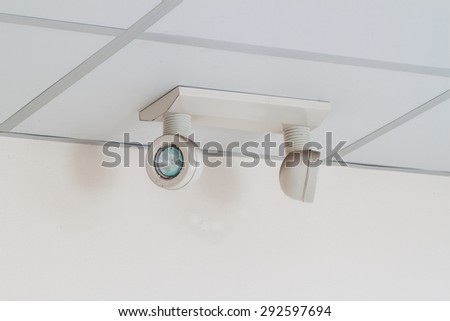 emergency lights with two lamps on the ceiling