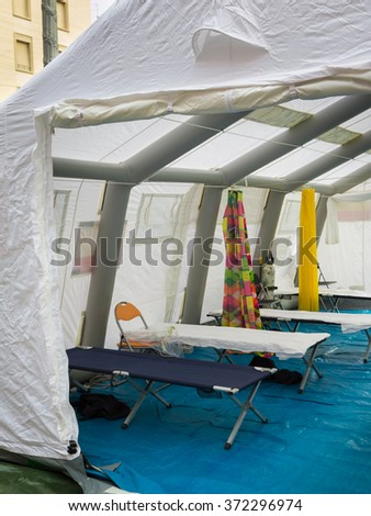 Emergency Medication, Camp Bed and Equipment inside Temporary Rescue Control Centre Tent - stock photo