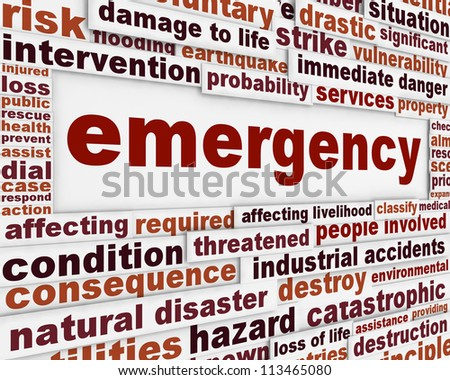 Emergency message conceptual background. Rescue service poster design - stock photo
