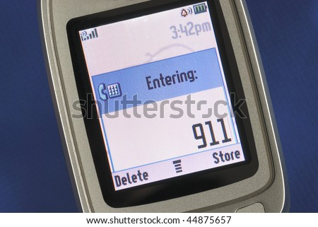 Emergency number 911 displayed on a cell phone - stock photo