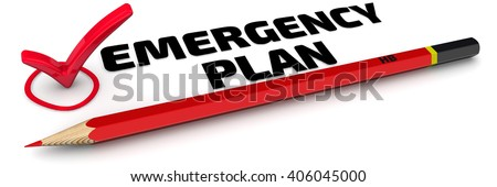 "Emergency plan. The mark ""EMERGENCY PLAN"". Red pencil and mark on white surface. Isolated. 3D Illustration"