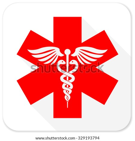 emergency red flat icon with long shadow on white background