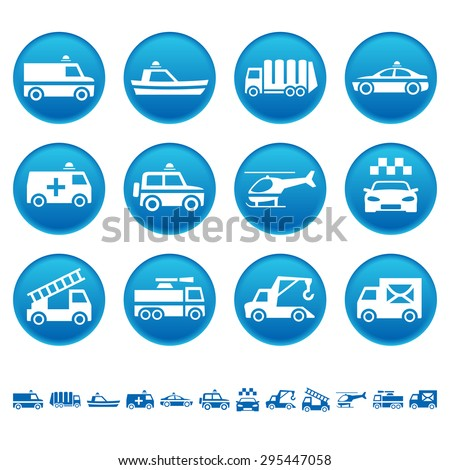 Emergency rescue and other special transportation icons - stock photo