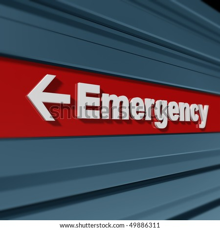 Emergency sign in perspective - stock photo