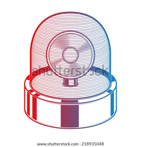 Emergency siren isolated on a white background. Gradient line art. Retro design. Raster copy. - stock photo