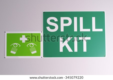 Emergency Spill Kit Wall Signs Green Stock Photo Royalty Free
