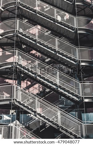 emergency staircase  in a building in Barcelona Catalonia Spain