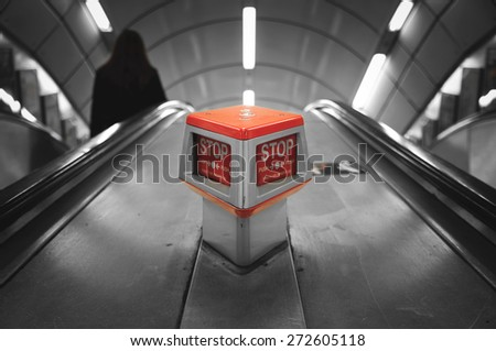 Emergency stop button in the London underground - stock photo