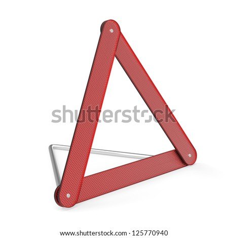 Emergency warning triangle on white background