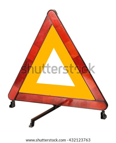 Emergency warning triangle sign isolated on white background