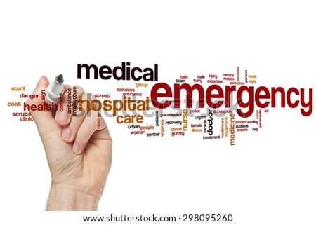 Emergency word cloud - stock photo