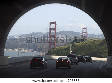 Emerging from a tunnel to the dramatic view of the Golden Gate bridge.
