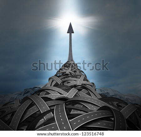 Emerging leadership with a big mountain of confused tangled roads and highways and a clear path going up to the sky as a solution for success in a concept of individuality breaking out of problems. - stock photo
