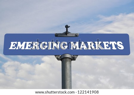Emerging markets road sign - stock photo
