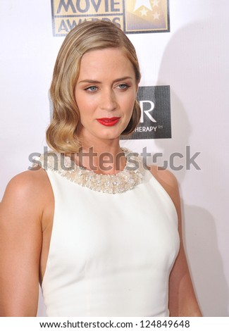 Emily Blunt at the 18th Annual Critics' Choice Movie Awards at Barker Hanger, Santa Monica Airport. January 10, 2013  Santa Monica, CA Picture: Paul Smith - stock photo