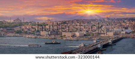 Eminonu harbor with berthed passenger ships, istanbul Turkey - stock photo
