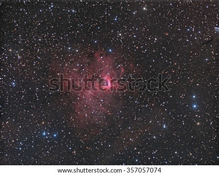 Emission nebula NGC1491. This is a picture of emission nebula NGC1491, which is about 10,000 light years away in the constellation Perseus.  - stock photo