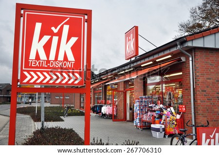 EMLICHHEIM, GERMANY - NOVEMBER 13: Branch of KiK textil-diskont, the largest textile discount chain in Germany, operates about 3,200 stores in Europe. Taken on November 13, 2010 in Emlichheim, Germany - stock photo