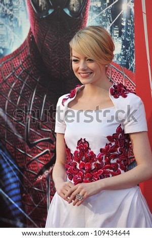 "Emma Stone at the world premiere of her movie ""The Amazing Spider-Man"" at Regency Village Theatre, Westwood. June 29, 2012  Los Angeles, CA Picture: Paul Smith / Featureflash"