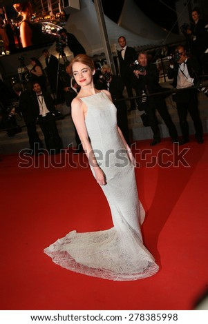 Emma Stone attends the Premiere of 'Irrational Man' during the 68th annual Cannes Film Festival on May 15, 2015 in Cannes, France. - stock photo