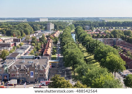 EMMELOORD, THE NETHERLANDS - SEP 10: Aerial view downtown district on September 10, 2016 of Emmeloord, captial city of Noordoostpolder, the Netherlands