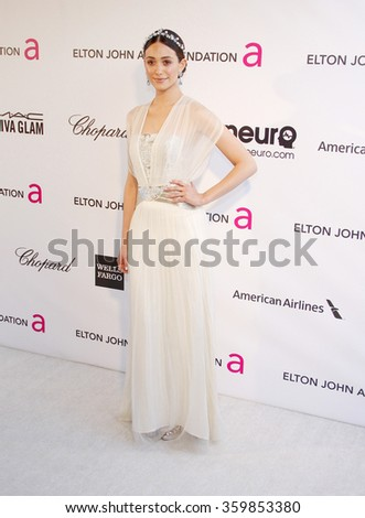 Emmy Rossum at the 21st Annual Elton John AIDS Foundation Academy Awards Viewing Party held at the West Hollywood Park in Los Angeles, USA on February 24, 2013. - stock photo