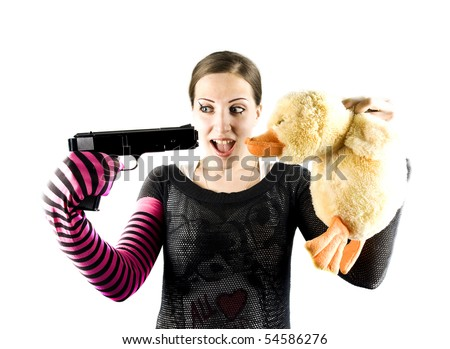 EMO girl, gun and duck - stock photo