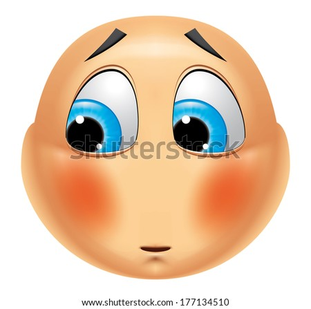 Emoticon ashamed - stock photo