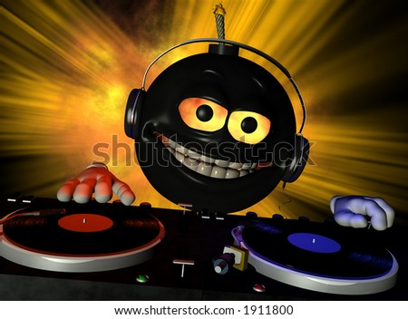 Emoticon DJ bomb with fire in his eyes and a lit fuse Turntables with vinyl albums. - stock photo