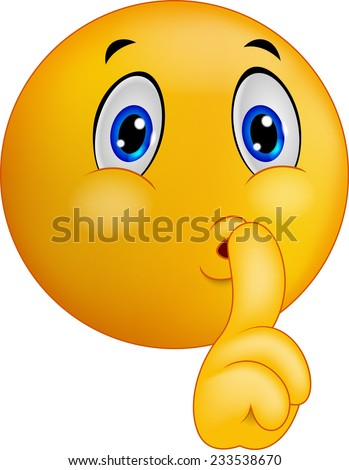 Emoticon smiley making silence sign - stock photo