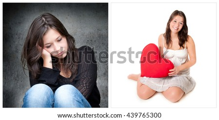 Emotion concept, two portraits of the same young girl, left photo: sad and depressed, right photo: positive and happy - stock photo