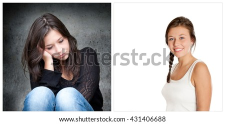 Emotion concept, two portraits of the same young woman, left photo: sad and depressed, right photo: positive and happy - stock photo