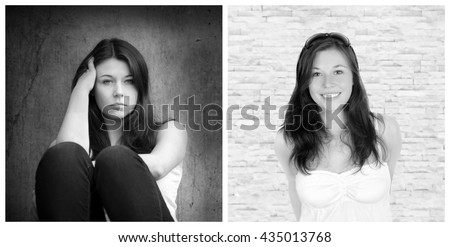 Emotion concept, two portraits of the same young woman, left photo: sad and depressed, right photo: positive and happy, black and white - stock photo